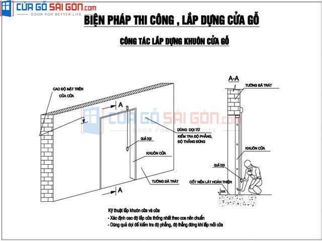 Lắp đặt khung bao cửa vào ô tường