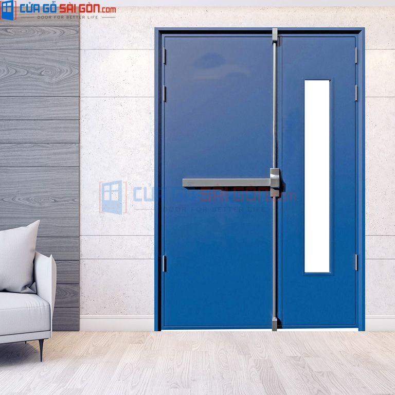 Cửa thép chống cháy 2P1G1 màu xanh dương